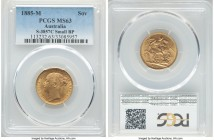 "Victoria gold ""St. George"" Sovereign 1885-M MS63 PCGS, Melbourne mint, KM7, S-3857C. Small BP variety.   HID09801242017  © 2020 Heritage Auctions 
