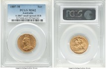 "Victoria gold ""Jubilee Head"" Sovereign 1887-M MS62 PCGS, Melbourne mint, KM10, S-3867. Small spread JEB. A fully Mint State selection of this Jubilee ..."