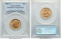 "Victoria gold ""Young Head/St. George"" Sovereign 1887-S MS62 PCGS, Sydney mint, KM7. Only faint friction caps the grade from further heights.   HID0980..."