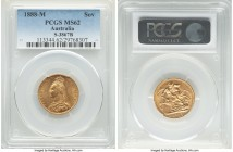 Victoria gold Sovereign 1888-M MS62 PCGS, Melbourne mint, KM10, S-3867B. Only faint friction caps the grade of this flashy type representative.   HID0...