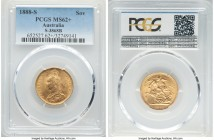 Victoria gold Sovereign 1888-S MS62+ PCGS, Sydney mint, KM10, S-3868B. Nearly choice and graced with free-flowing silky luster.   HID09801242017  © 20...