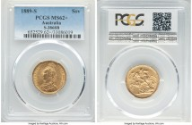 Victoria gold Sovereign 1889-S MS62+ PCGS, Sydney mint, KM10, S-3868B. On the precipice of choice preservation with only the lightest degree of chatte...