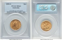 Victoria gold Sovereign 1890-S MS63 PCGS, Sydney mint, KM10. An ever-popular type when encountered in better states of preservation such as this.   HI...
