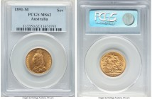Victoria gold Sovereign 1891-M MS62 PCGS, Melbourne mint, KM10. Mint State and a highly collectible example of the type.   HID09801242017  © 2020 Heri...