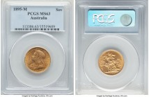 Victoria gold Sovereign 1895-M MS63 PCGS, Melbourne mint, KM13. An original selection combining glassy and satiny luster.   HID09801242017  © 2020 Her...