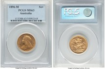 Victoria gold Sovereign 1896-M MS63 PCGS, Melbourne mint, KM13. Fully struck and revealing a profound Prooflike reflectivity to the fields coupled wit...