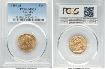 Victoria gold Sovereign 1897-M MS63 PCGS, Melbourne mint, KM13, S-3875. An enticing selection graced with silky golden luster.   HID09801242017  © 202...
