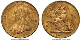 Victoria gold Sovereign 1899-P MS62+ PCGS, Perth mint, KM13, S-3876. The scarcest date for the type and one which saw only 690,000 struck in total. Lu...