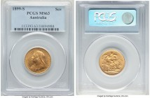 Victoria gold Sovereign 1899-S MS63 PCGS, Sydney mint, KM13. A well-struck offering showcasing all the hallmarks of choice quality.   HID09801242017  ...