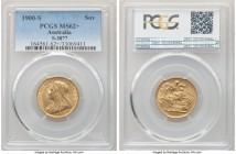 Victoria gold Sovereign 1900-S MS62+ PCGS Sydney mint, KM13, S-3877. Exhibiting only light handling in line with the designation and strong satin fini...