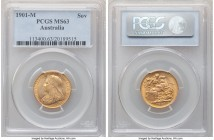Victoria gold Sovereign 1901-M MS63 PCGS, Melbourne mint, KM13. Displaying a thin veil of central tone bordered by a peripheral ring of orange-gold lu...