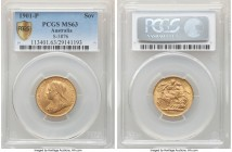 Victoria gold Sovereign 1901-P MS63 PCGS, Perth mint, KM13, S-3876. Lemon-gold and displaying only the faintest signs of handling to establish the cho...