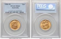 Edward VII gold Sovereign 1906-M MS63 PCGS, Melbourne mint, KM15. Expressing free-flowing luster that enlivens the surfaces upon rotation.   HID098012...