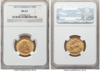 Edward VII gold Sovereign 1907-S MS63 NGC, Sydney mint, KM15. A glowing offering carrying ample golden frost.   HID09801242017  © 2020 Heritage Auctio...