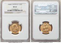 Edward VII gold Sovereign 1908-M MS63 NGC, Melbourne mint, KM15. Alluring shimmering luster resides over the surfaces of this wholly choice example.  ...