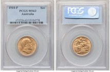 Edward VII gold Sovereign 1910-P MS63 PCGS, Perth mint, KM15. Bright and revealing only faint signs of handling commensurate with the assigned grade. ...