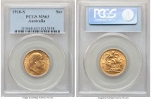Edward VII gold Sovereign 1910-S MS63 PCGS, Sydney mint, KM15. Arguably at the upper end of the assigned grade owing to clear, lustrous fields and a r...