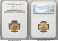 George V gold 1/2 Sovereign 1915-S MS64 NGC, Sydney mint, KM28. Engaging and abounding with luster over surfaces bearing only faint handling in line w...