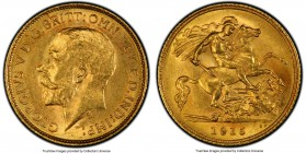 George V gold 1/2 Sovereign 1915-S MS63 PCGS, Sydney mint, KM28. Struck on a lemon-gold planchet emitting bright aurous luster.   HID09801242017  © 20...