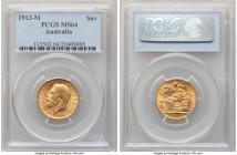 George V gold Sovereign 1912-M MS64 PCGS, Melbourne mint, KM29. Deeply glistening surfaces and careful preservation yield a near-gem quality in this a...