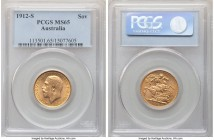 George V gold Sovereign 1912-S MS65 PCGS, Sydney mint, KM29, S-4003. Lightly toned over surfaces revealing cascading radiance, the detail throughout e...