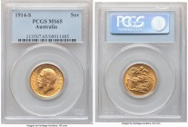 George V gold Sovereign 1914-S MS65 PCGS, Sydney mint, KM29. Graced with billowing golden luster that decorates the planchet.   HID09801242017  © 2020...