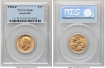 George V gold Sovereign 1918-P MS64 PCGS, Perth mint, KM29. A well-kept specimen, tied for the second-finest certified to date.   HID09801242017  © 20...