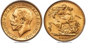 George V gold Sovereign 1918-S MS66 PCGS, Sydney mint, KM29. Struck to a stunning clarity of detail and marked by nearly pristine surfaces. Tied for t...