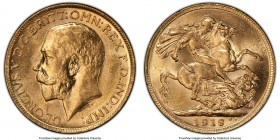 George V gold Sovereign 1919-M MS63 PCGS, Melbourne mint, KM29, S-3999. Draped in voluminous butter-gold luster - a positively choice representative. ...