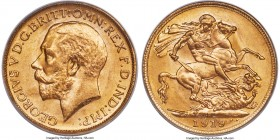 George V gold Sovereign 1919-P MS65 PCGS, Perth mint, KM29. Exhibiting fully struck detail haloed in free-flowing golden luminosity. Tied for the fine...