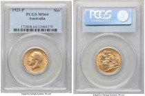 George V gold Sovereign 1921-P MS64 PCGS, Perth mint, KM29. Decorated in golden luster and tinged with just a hint of saffron tone.   HID09801242017  ...