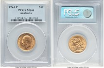 George V gold Sovereign 1922-P MS64 PCGS, Perth mint, KM29. Highly attractive and absolutely laden with aurous brilliance.   HID09801242017  © 2020 He...