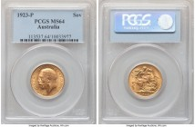 George V gold Sovereign 1923-P MS64 PCGS, Perth mint, KM29. Exhibiting well-defined features highlighted by flares of golden luster.   HID09801242017 ...