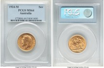 George V gold Sovereign 1924-M MS64 PCGS, Melbourne mint, KM29. A well-kept offering overlaid with voluminous golden brilliance.   HID09801242017  © 2...
