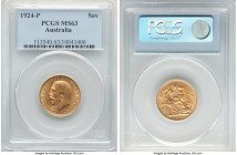 George V gold Sovereign 1924-P MS63 PCGS, Perth mint, KM29, S-4001. Well-kept and exhibiting a uniformly bold strike.   HID09801242017  © 2020 Heritag...