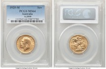George V gold Sovereign 1925-M MS64 PCGS, Melbourne mint, KM29, S-3999. Gratifying in visual appeal and struck detail, only the shallowest of contact ...
