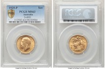 George V gold Sovereign 1925-P MS63 PCGS, Perth mint, KM29, S-4001. Sunflower gold across surfaces revealing only minor peppered contact marks.   HID0...