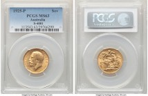 George V gold Sovereign 1925-P MS63 PCGS, Perth mint, KM29, S-4001. An appealing example fielding ample golden luster.   HID09801242017  © 2020 Herita...