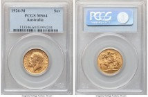 George V gold Sovereign 1926-M MS64 PCGS, Melbourne mint, KM29, S-3999. Bathed in mint brilliance and arguably of gem quality, if not for a single mar...