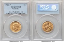George V gold Sovereign 1926-P MS62 PCGS, Perth mint, KM29. Exuding deep golden luster, the strike sound and satisfying.   HID09801242017  © 2020 Heri...