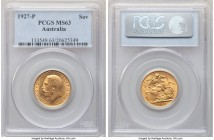 George V gold Sovereign 1927-P MS63 PCGS, Perth mint, KM29. A shimmering Sovereign offering sound visual and technical appeal.   HID09801242017  © 202...