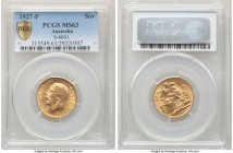 George V gold Sovereign 1927-P MS63 PCGS, Perth mint, KM29, S-4001. Choice, with intermingled golden tone laid over warm surfaces.   HID09801242017  ©...