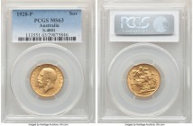 George V gold Sovereign 1928-P MS63 PCGS, Perth mint, KM29, S-4001. Dressed in a sheen of golden radiance.   HID09801242017  © 2020 Heritage Auctions ...