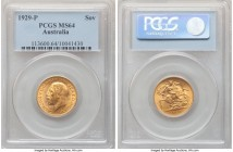 George V gold Sovereign 1929-P MS64 PCGS, Perth mint, KM32. Expressing a charming cartwheel effect. Tied for the finest yet certified by either major ...