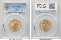 George V gold Sovereign 1930-M MS62 PCGS, Melbourne mint, KM32, S-4000. Lightly handled in the centers, with framing velveteen luster gracing the oute...