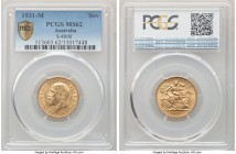 George V gold Sovereign 1931-M MS62 PCGS, Melbourne mint, KM32, S-4000. A scarcer date that serves as a target of collectors in Mint condition. Lightl...