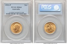 George V gold Sovereign 1931-P MS64 PCGS, Perth mint, KM32. Marked by blooming mint luster that decorates the entirety of the obverse and reverse surf...