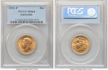 George V gold Sovereign 1931-P MS64 PCGS, Perth mint, KM32. Tangerine-gold and dressed in thick mint brilliance.   HID09801242017  © 2020 Heritage Auc...