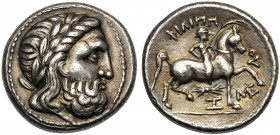Danube, Tetradrachm, III cent. BC AR (g 14,44 mm 25 h 12) Laureate head of Zeus r., Rv. ΦIΛIΠΠ-OY, warrior on horse-back r., holding palm-branch below...
