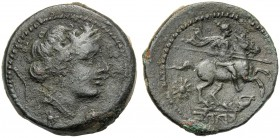 Campania, Uncia, Capua, c. 216-211 BC AE (g 7,98 mm 21 h 1) Head of Fortuna r., wearing turrited crown decorated with thunderbolt below, star, dotted ...